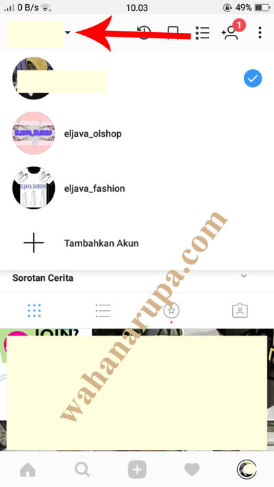 cara tambah akun instagram