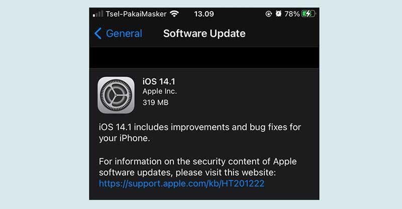Kenapa tidak bisa update iOS 14